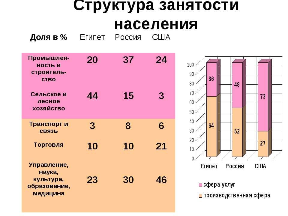 Структура занятости населения Доля в % Египет Россия США Промышлен-ность и ст...