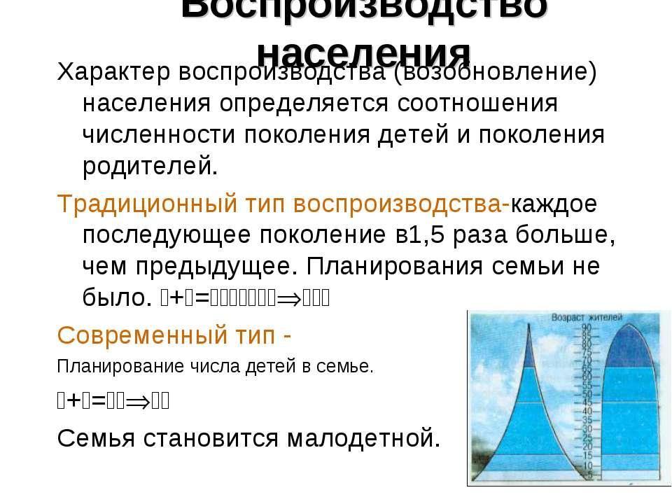 Воспроизводство населения Характер воспроизводства (возобновление) населения ...