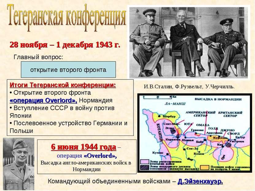 открытие второго фронта И.В.Сталин, Ф.Рузвельт, У.Черчилль. Главный вопрос: И...