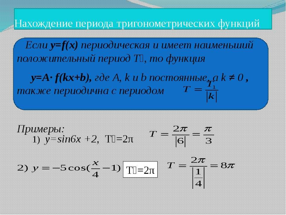 Нахождение периода тригонометрических функций Если y=f(x) периодическая и име...