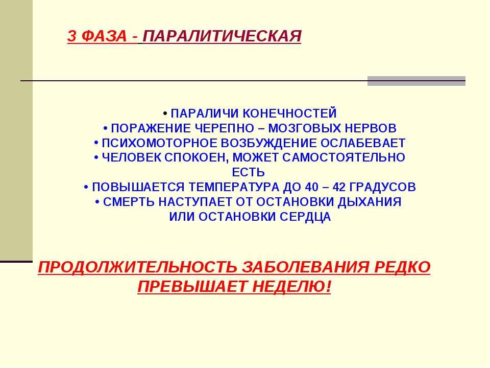 3 ФАЗА - ПАРАЛИТИЧЕСКАЯ ПАРАЛИЧИ КОНЕЧНОСТЕЙ ПОРАЖЕНИЕ ЧЕРЕПНО – МОЗГОВЫХ НЕР...