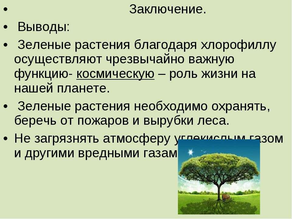 Заключение. Выводы: Зеленые растения благодаря хлорофиллу осуществляют чрезвы...