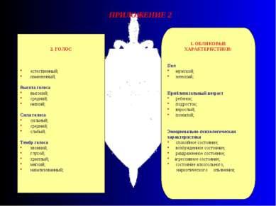 ПРИЛОЖЕНИЕ 2 1. ОБЛИКОВЫЕ ХАРАКТЕРИСТИКИ: Пол мужской; женский; Приблизительн...