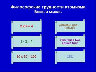 Философские трудности атомизма Вещь и мысль 2 х 2 = 4 10 х 10 = 100 Дважды дв...