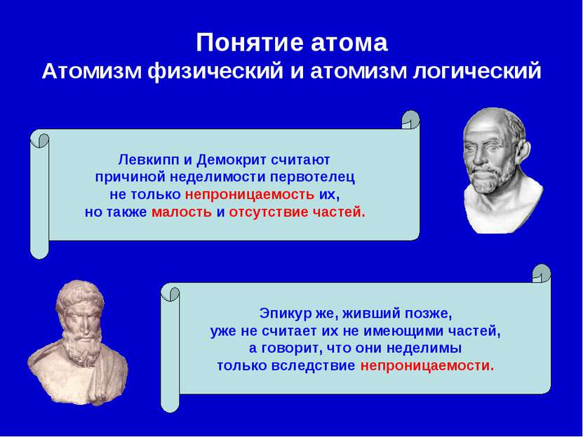 Понятие атома Атомизм физический и атомизм логический Левкипп и Демокрит счит...