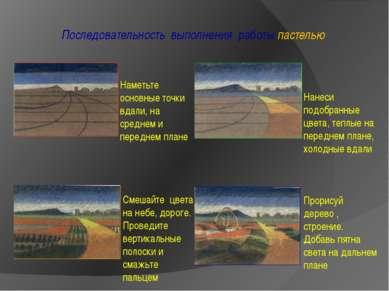 Последовательность выполнения работы пастелью Наметьте основные точки вдали, ...