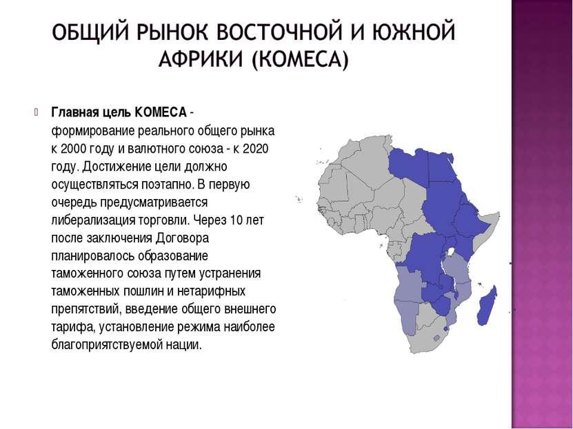 Главная цель КОМЕСА- формирование реального общего рынка к 2000 году и валют...