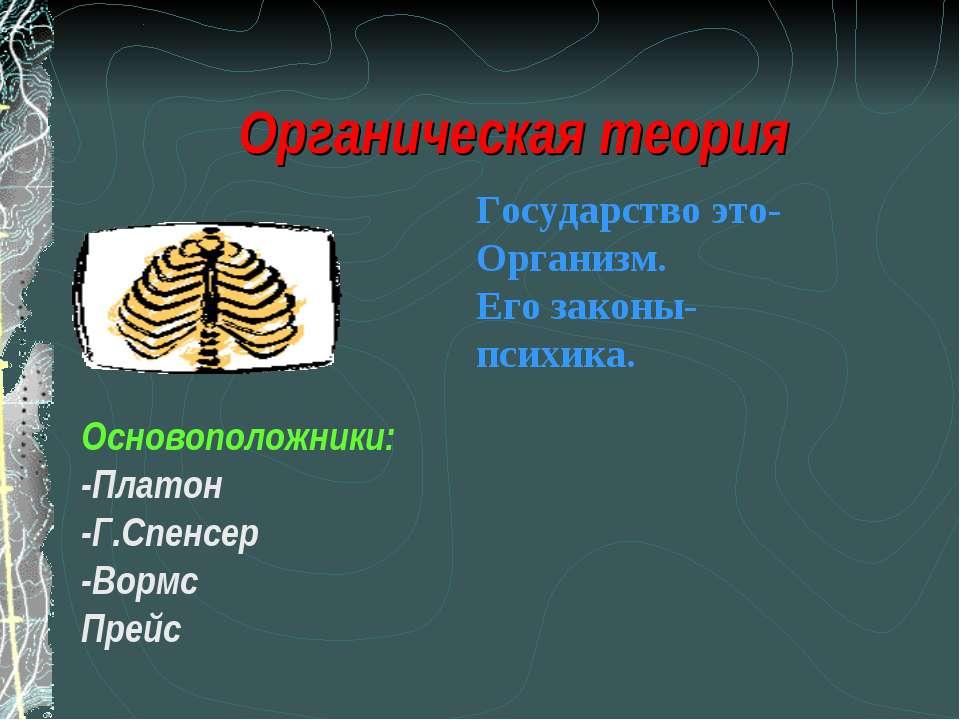 Органическая теория Основоположники: -Платон -Г.Спенсер -Вормс Прейс