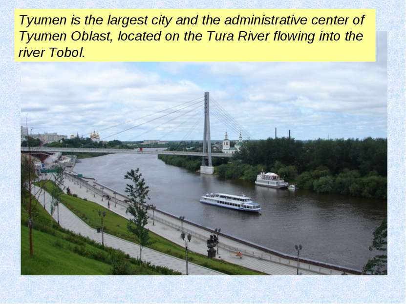 Tyumen is the largest city and the administrative center of Tyumen Oblast, lo...