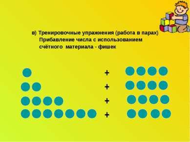 в) Тренировочные упражнения (работа в парах) Прибавление числа с использовани...
