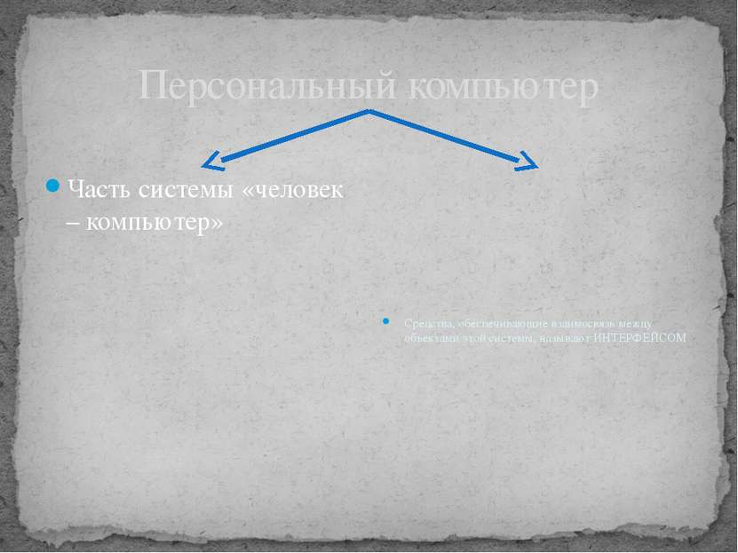 Персональный компьютер Часть системы «человек – компьютер» Средства, обеспечи...