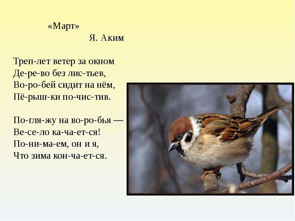 «Март» Я. Аким Треп-лет ветер за окном Де-ре-во без лис-тьев, Во-ро-бей сидит...