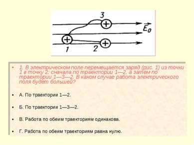 1. В электрическом поле перемещается заряд (рис. 1) из точки 1 в точку 2: сна...