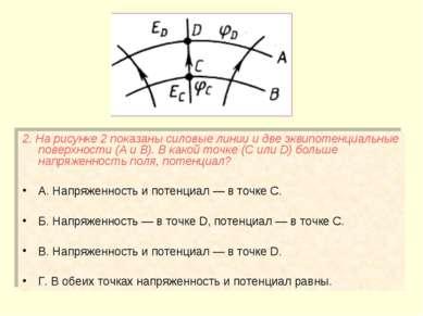 2. На рисунке 2 показаны силовые линии и две эквипотенциальные поверхности (А...