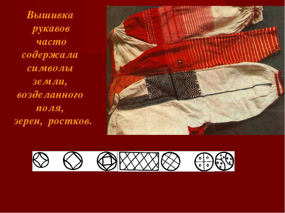 Вышивка рукавов часто содержала символы земли, возделанного поля, зерен, рост...