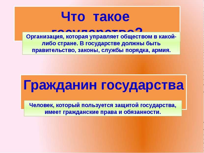 Что такое государство? Гражданин государства … Организация, которая управляет...