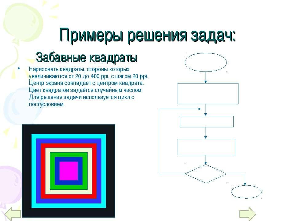Примеры решения задач: Нарисовать квадраты, стороны которых увеличиваются от ...