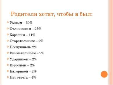 Родители хотят, чтобы я был: Умным – 50% Отличником – 25% Хорошим – 11% Стара...