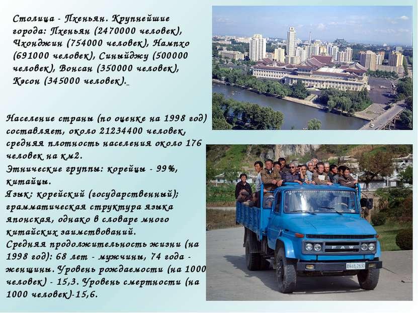 Столица - Пхеньян. Крупнейшие города: Пхеньян (2470000 человек), Чхонджин (75...
