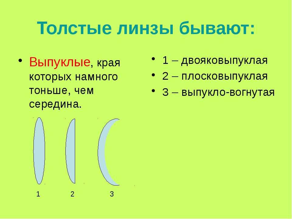 Толстые линзы бывают: Выпуклые, края которых намного тоньше, чем середина. 1 ...