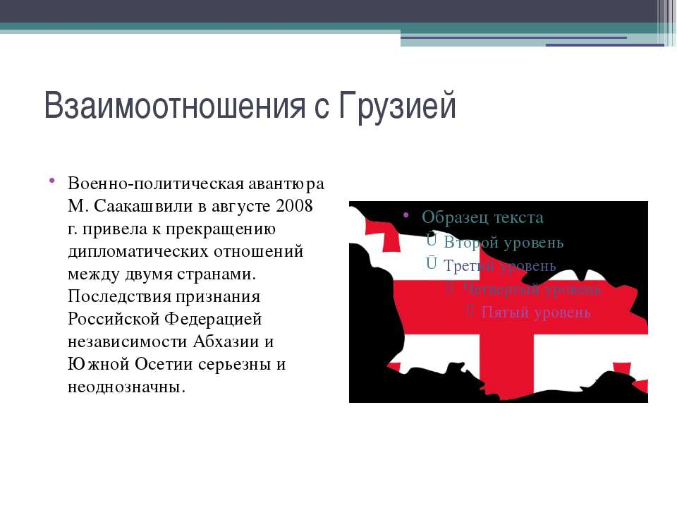 Взаимоотношения с Грузией Военно-политическая авантюра М. Саакашвили в август...