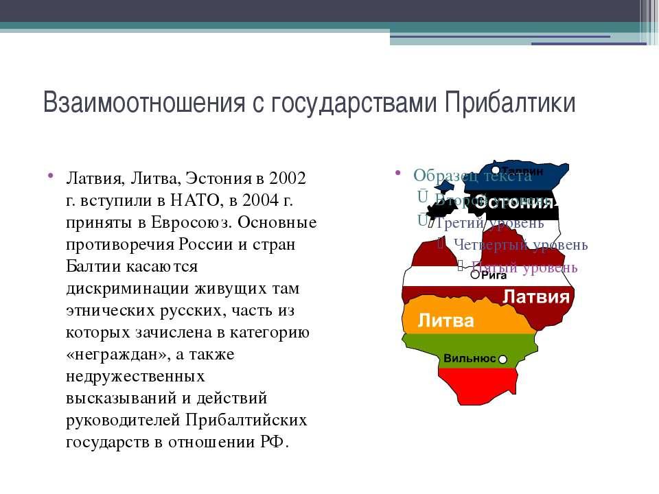 Взаимоотношения с государствами Прибалтики Латвия, Литва, Эстония в 2002 г. в...