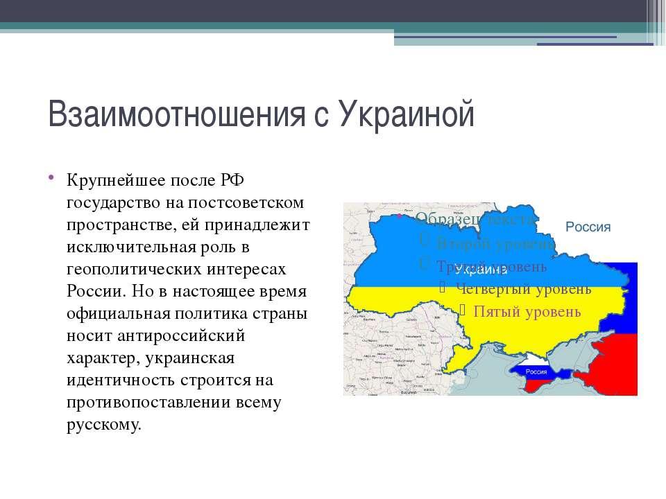 Взаимоотношения с Украиной Крупнейшее после РФ государство на постсоветском п...