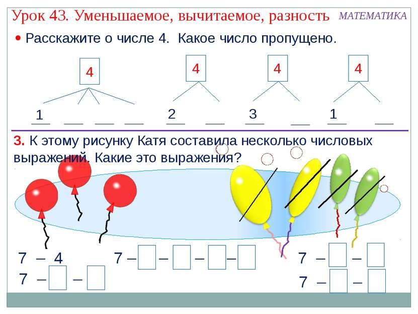 3. К этому рисунку Катя составила несколько числовых выражений. Какие это выр...