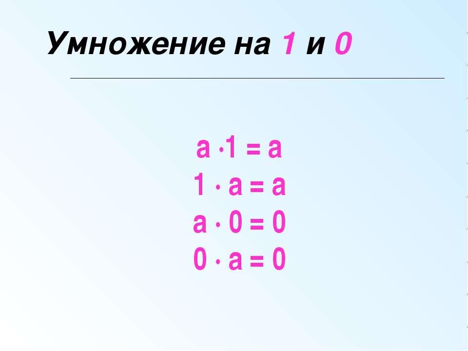 Умножение на 1 и 0 а ∙1 = а 1 ∙ а = а а ∙ 0 = 0 0 ∙ а = 0