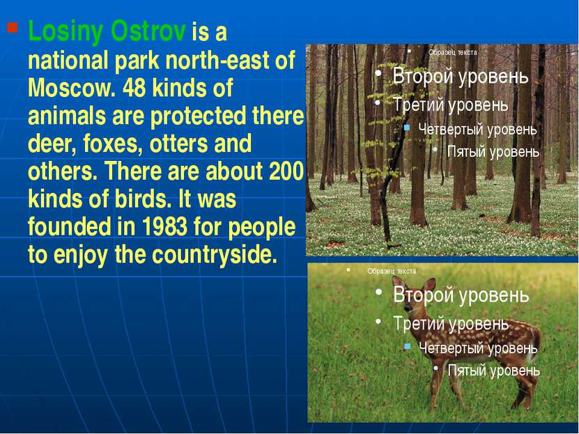 Losiny Ostrov is a national park north-east of Moscow. 48 kinds of animals ar...
