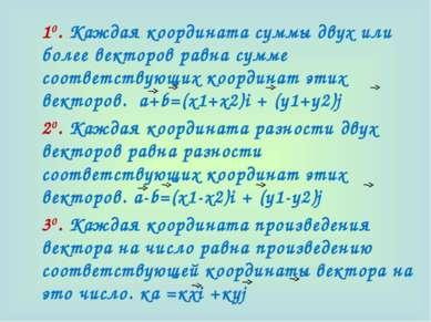 10. Каждая координата суммы двух или более векторов равна сумме соответствующ...