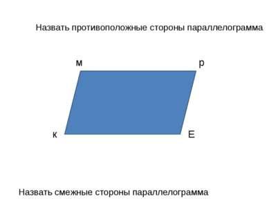Назвать противоположные стороны параллелограмма Назвать смежные стороны парал...