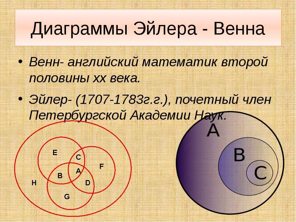 Диаграммы Эйлера - Венна Венн- английский математик второй половины xx века. ...
