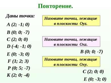 Повторение. Даны точки: А (2; -1; 0) В (0; 0; -7) С (2; 0; 0) D (-4; -1; 0) Е...