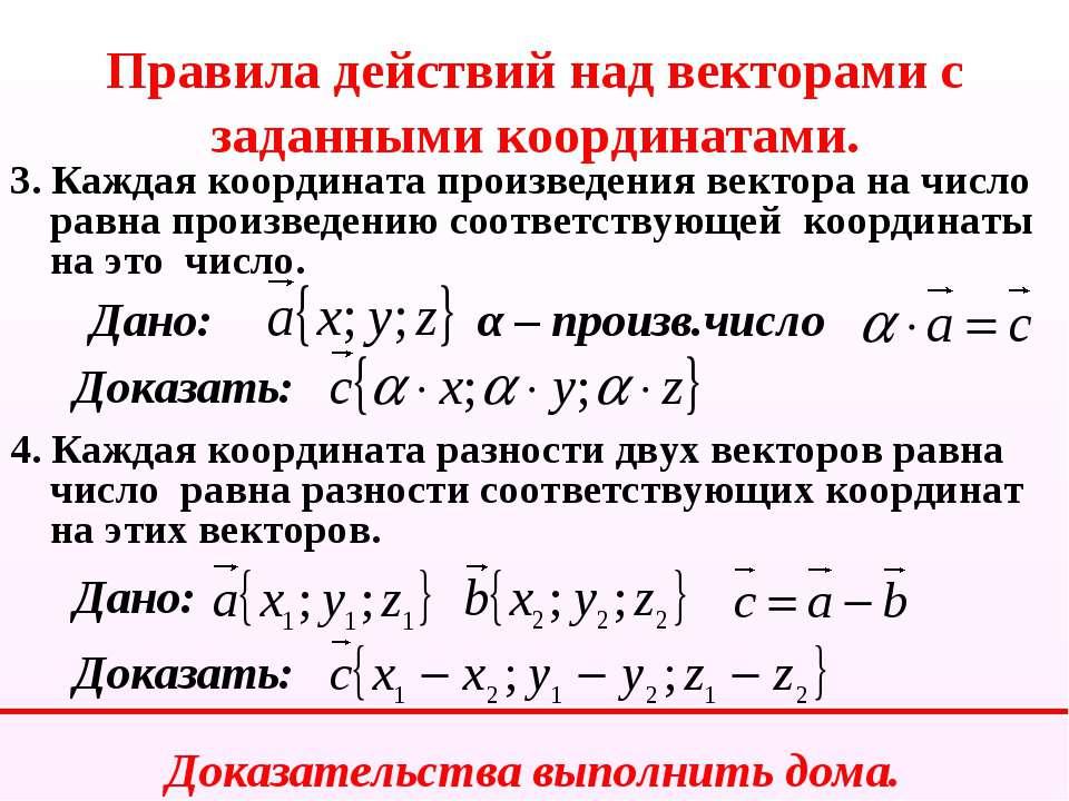 Правила действий над векторами с заданными координатами. 3. Каждая координата...
