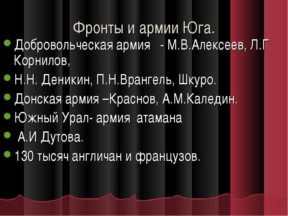 Фронты и армии Юга. Добровольческая армия - М.В.Алексеев, Л.Г Корнилов, Н.Н. ...