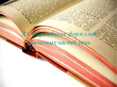 А3. Образование форм слов различных частей речи