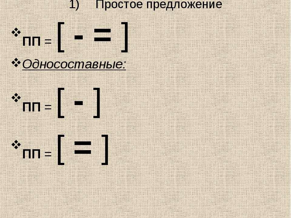 Простое предложение ПП = [ - = ] Односоставные: ПП = [ - ] ПП = [ = ]