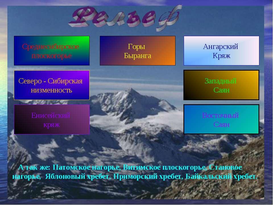 Среднесибирское плоскогорье Северо - Сибирская низменность Енисейский кряж За...