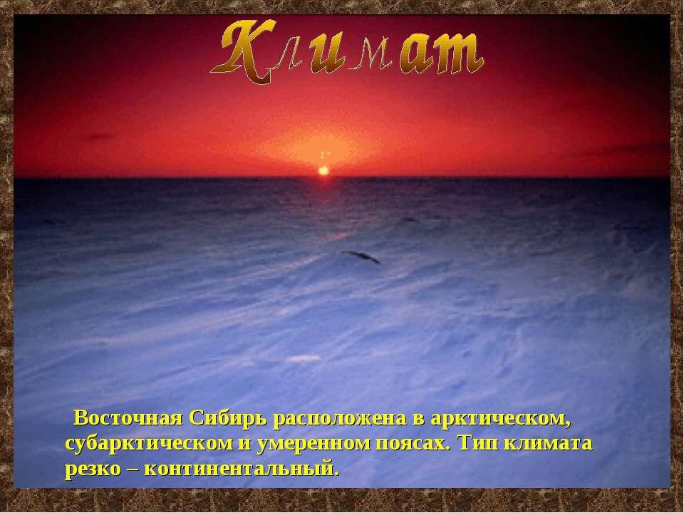 Восточная Сибирь расположена в арктическом, субарктическом и умеренном поясах...
