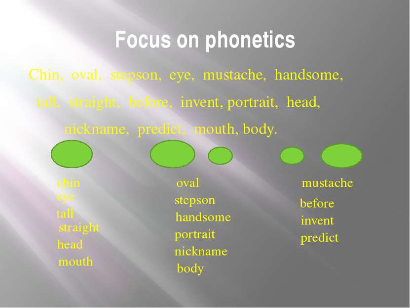 Focus on phonetics Chin, oval, stepson, eye, mustache, handsome, tall, straig...