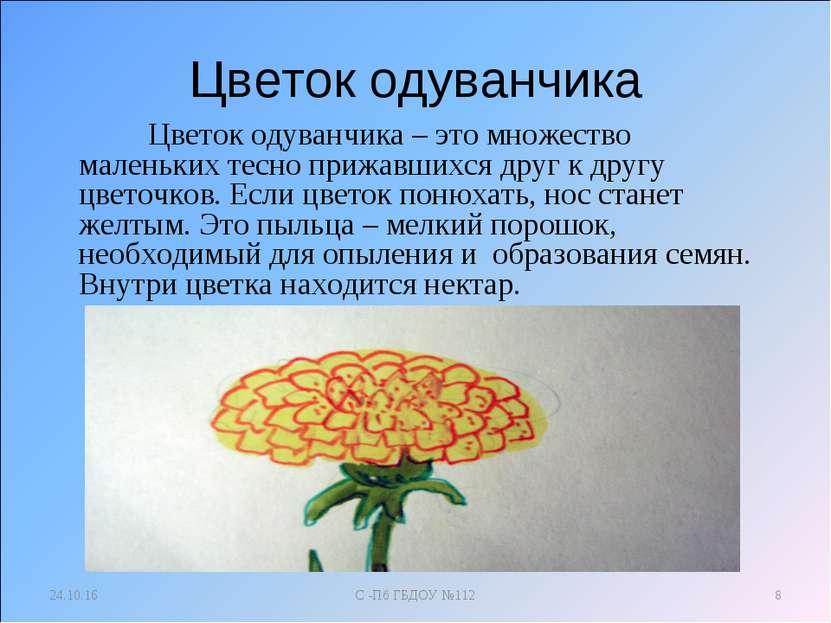 Цветок одуванчика Цветок одуванчика – это множество маленьких тесно прижавших...