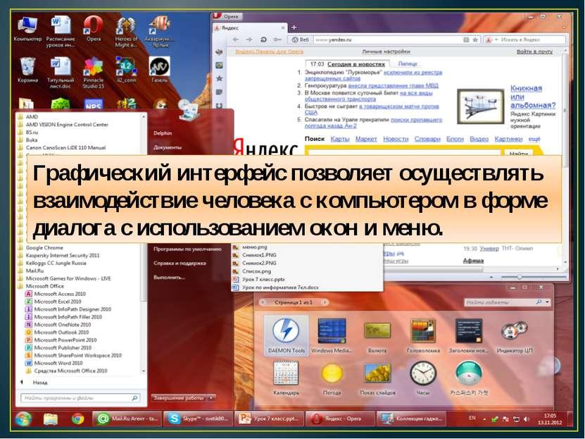 Графический интерфейс позволяет осуществлять взаимодействие человека с компью...
