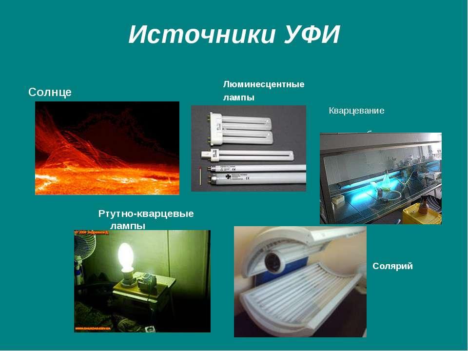 Источники УФИ Солнце Ртутно-кварцевые лампы Люминесцентные лампы Кварцевание ...