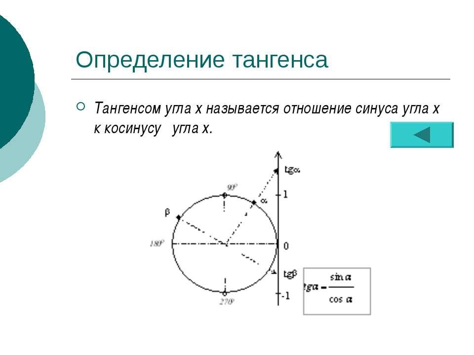Определение тангенса Тангенсом угла х называется отношение синуса угла х к ко...
