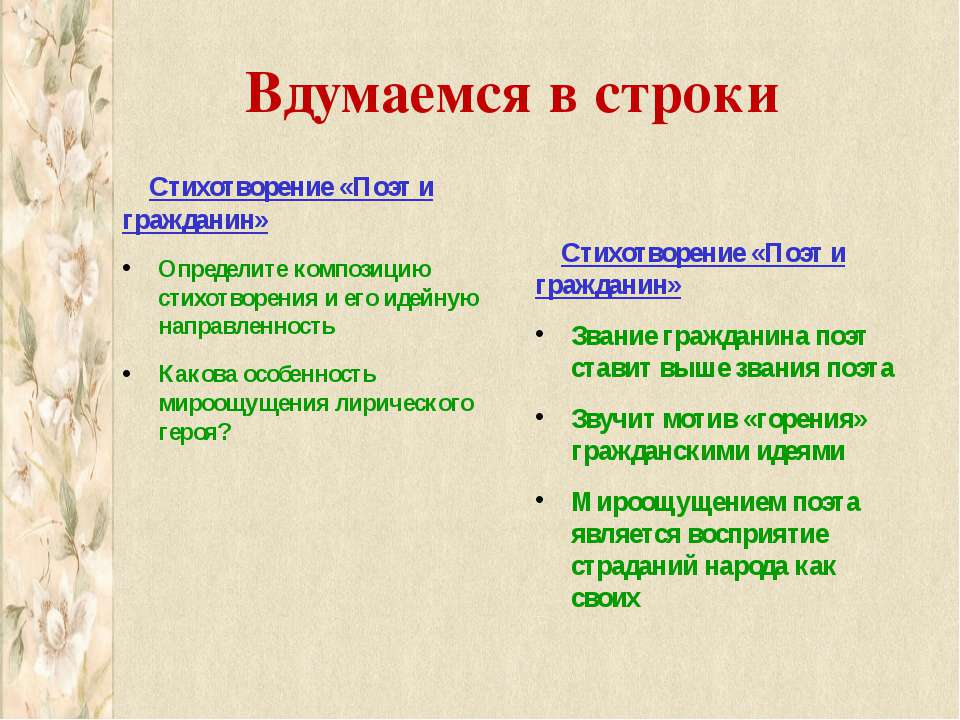 Вдумаемся в строки Стихотворение «Поэт и гражданин» Определите композицию сти...