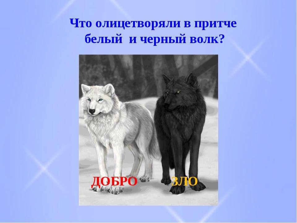 Что олицетворяли в притче белый и черный волк? ДОБРО ЗЛО