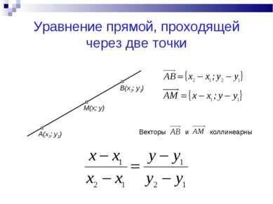 Уравнение прямой, проходящей через две точки A(x1; y1) M(x; y) B(x2; y2)