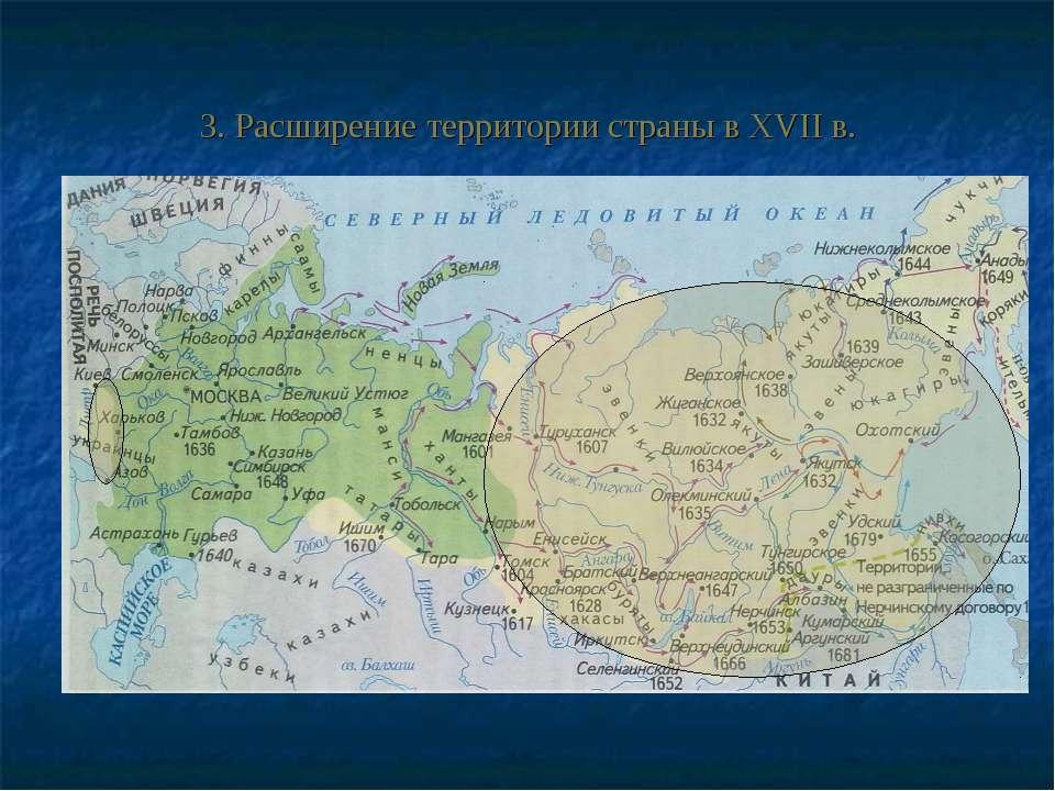 3. Расширение территории страны в XVII в.