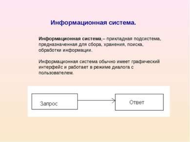 Информационная система. Информационная система – прикладная подсистема, предн...